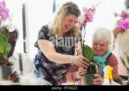 Smiling instructor and senior woman in flower arranging class - Stock Photo