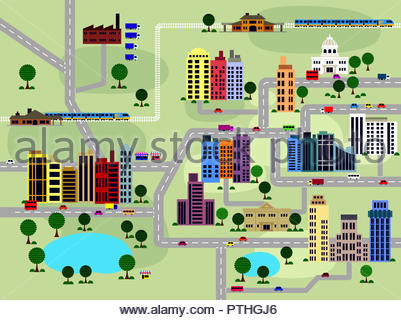 Layout of roads and buildings in city - Stock Photo