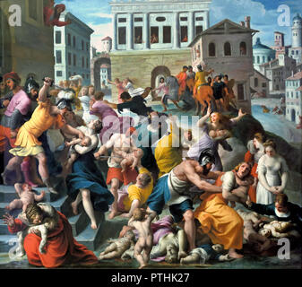 Infanticide at Bethlehem by Alessandro TURCHI 1578 –1649 Italy Italian (The Massacre of the Innocents of infanticide by Herod the Great, the Roman-appointed King of the Jews. Herod ordered the execution of all young male children two years old and under in the vicinity of Bethlehem ) - Stock Photo