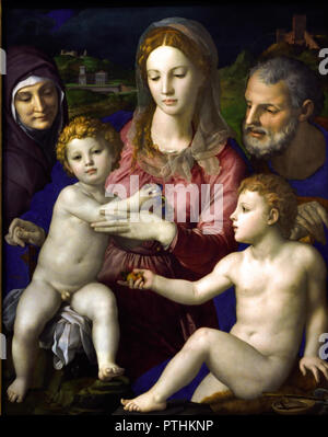 Holy Family with ST. Anna and Johannesknaben 1545/1546 by  Agnolo di Cosimo, called Bronzino (1503 Monticelli near Florence - 1572 Florence) Italy,Italian. - Stock Photo