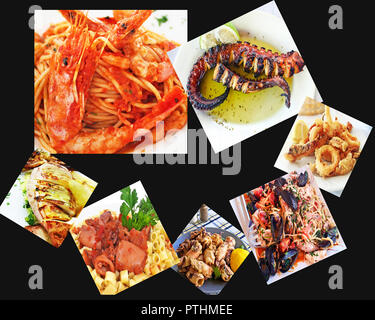 collage with traditional greek mediterranean seafood - black background - Stock Photo