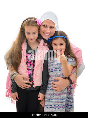 Happy Muslim Female Family, Mother And Her Daughters - Stock Photo