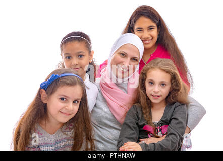 Happy Muslim Female Family, Mother And Daughters - Stock Photo