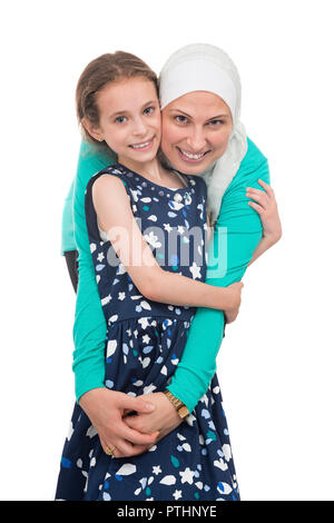 Happy Muslim Family, Mother And Her Daughters - Stock Photo