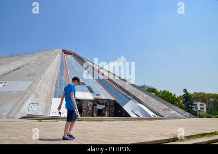the pyramid in tirana albania former museum to enver hoxha and nightclub built by hoxhas children - Stock Photo