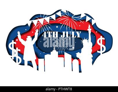 Paper cut banner for Independence Day July 4 USA with Statue of Liberty, Uncle Sam, lights, stars, and city silhouette. Vector illustration - Stock Photo