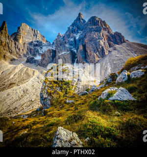 detail of mountain in passo rolle italian alps - Stock Photo