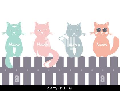 Cute seamless pattern background with cats seating on the fence. Pastel palette silhouettes. Vector illustration - Stock Photo