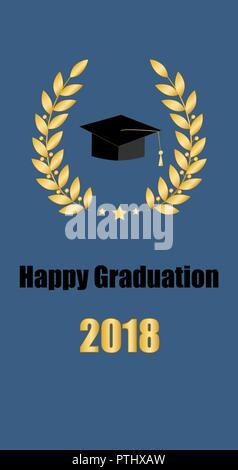 Graduate card. Class of 2018. Education symbol. Graduation hat Laurel wreath - Stock Photo