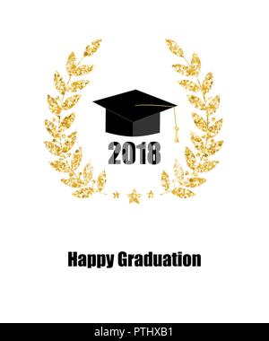 Graduate card. Class of 2018. Education symbol. Graduation hat. Laurel wreath. - Stock Photo