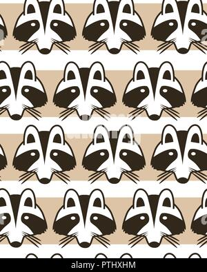 Seamless striped background with raccoon muzzles. Cute cartoon raccon faces background. Vector illustration - Stock Photo