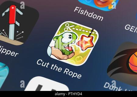London, United Kingdom - October 09, 2018: Screenshot of the mobile app Cut the Rope: Experiments from ZeptoLab UK Limited. - Stock Photo