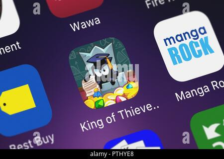 London, United Kingdom - October 09, 2018: Screenshot of ZeptoLab UK Limited's mobile app King of Thieves. - Stock Photo