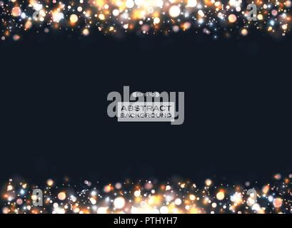 Christmas colorful bokeh pattern with glitters on dark blue background, illustration vector eps10 - Stock Photo