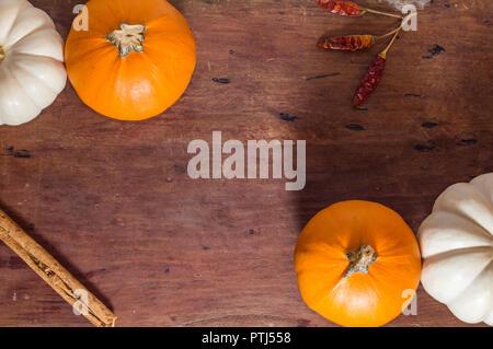 Autumn produce, pumpkin spice, room for text - Stock Photo