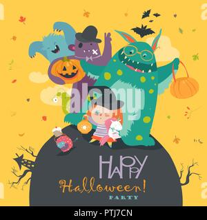 Cute girl with funny monsters. Halloween party - Stock Photo