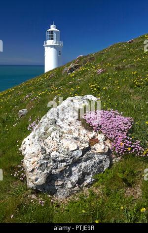 The lighthouse at Trevose Head on the north Cornish coast. - Stock Photo