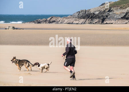 A man running with his dogs on Crantock Beach in Newquay in Cornwall. - Stock Photo