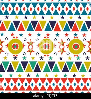 Retro christmas season seamless pattern in folk style with colorful geometric shapes and star decoration background. EPS10 vector. - Stock Photo