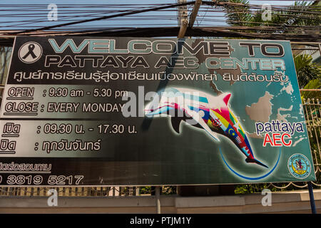PATTAYA,THAILAND - APRIL 13,2018: AEC Center This center helps foreign people with informations about laws and regulations to start their business in  - Stock Photo
