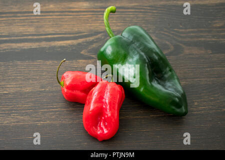 Scotch Bonnet and Poblano Peppers - Stock Photo