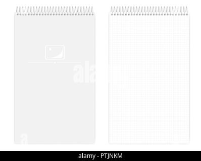 wire bound grid lined notebook realistic vector mockup metal