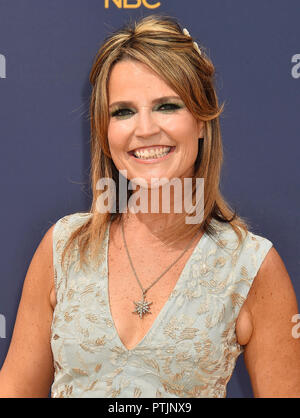 SAVANNAH GUTHRIE Australian-American broadcast journalist and attorney at  the 70th Emmy Awards at Microsoft Theater on September 17, 2018 in Los Angeles, California. - Stock Photo
