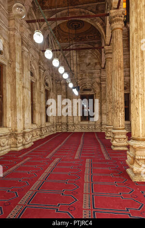 Marble Columns of the passageways on the sides of the Sanctuary Hall of the Muhammad Ali Mosque in the Citadel of Cairo - Stock Photo