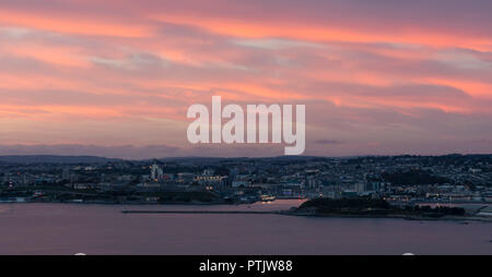 Plymouth Sound at Sunset - Stock Photo