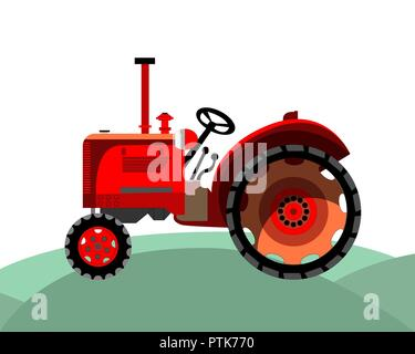 old red farm tractor - Stock Photo