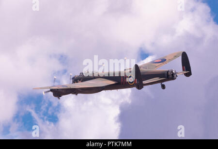WWII veteran Royal Air Force Avro Lancaster bomber at the IWM Duxford Air Show. - Stock Photo