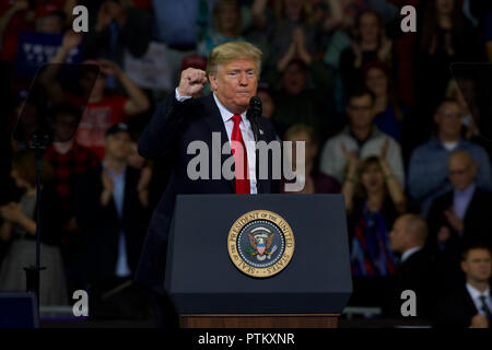 Topeka Kansas, USA, October 6, 2018 President Donald Trump at rally in support of Kansas Secretary of State Kris Kobach who is the Republican candidate for governor. - Stock Photo