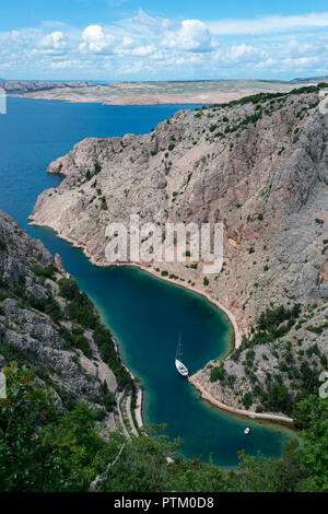 Zavratnica Bay, Prirode Velebit National Park, Jablanac, in the back Rab Island, Dalmatia, Croatia - Stock Photo