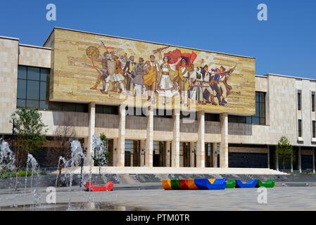 National History Museum with Shqiptarët Mosaic, The Albanians, Muzeu Historik Kombëtar, Skanderbeg Square, Tirana, Albania - Stock Photo