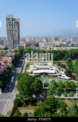 City view, City center, View from Sky Tower, in the back mountains, Tirana, Albania - Stock Photo