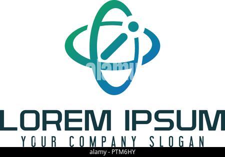 Letter I logo. satelite technology design concept template - Stock Photo