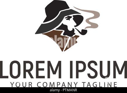 smoking man logo design concept template - Stock Photo