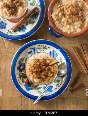 Arroz con leche. Cinnamon rice pudding. Hispanic dessert - Stock Photo