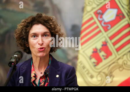 Moscow, Russia. 10th Oct, 2018. MOSCOW, RUSSIA - OCTOBER 10, 2018: Andorra's Foreign Minister Maria Ubach Font gives a news conference following a meeting with her Russian counterpart Sergei Lavrov. Vyacheslav Prokofyev/TASS Credit: ITAR-TASS News Agency/Alamy Live News - Stock Photo