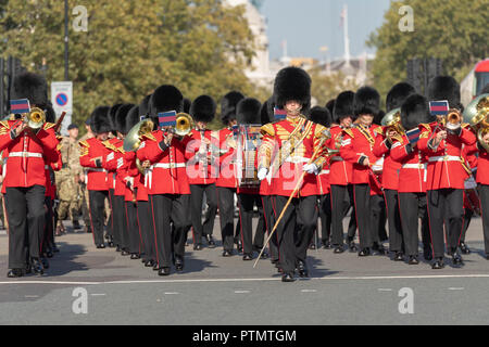 London, UK. 10th Oct, 2018. London 10th October 2018, To mark the UK Army global commitments this is a march by 120 soldiers led by the band of the Grenadier Guards to Parliament to be formally thanks for their service by a 'welcome home' reception with MPs Credit: Ian Davidson/Alamy Live News - Stock Photo