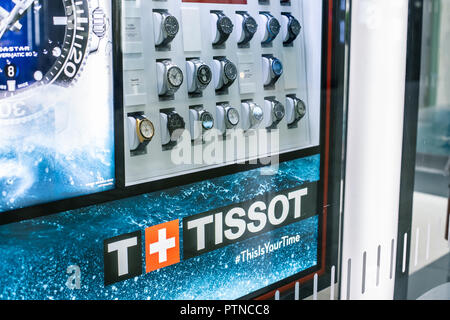 NEW YORK, USA - August, 2018: Official Tissot store at Oculus Shopping Center, New York. Tissot is a Swiss luxury watchmaker, founded in 1853. - Stock Photo