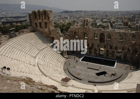 Greece. Athens. Acropolis. Odeon of Herodes Atticus. It was completed in 161 AD and renovated in 1950. - Stock Photo
