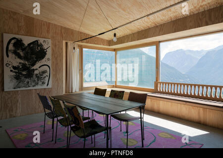 Interior of a living room in a house on the swiss alps - Stock Photo