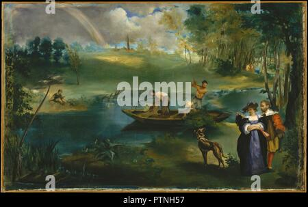 Fishing. Artist: Édouard Manet (French, Paris 1832-1883 Paris). Dimensions: 30 1/4 x 48 1/2 in. (76.8 x 123.2 cm). Date: ca. 1862-63.  Patterned after elements in landscapes by Peter Paul Rubens, the present painting gives currency to Delacroix's recommendation to Manet: 'Look at Rubens, draw inspiration from Rubens, copy Rubens. Rubens was God.' Manet and his future wife, Suzanne Leenhoff, are the couple at lower right dressed in seventeenth-century costume and posed like Rubens and his wife in the Flemish painter's <i>Park of the Château de Steen</i> (Kunsthistorisches Museum, Vienna). As Ma - Stock Photo
