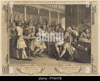 The Industrious 'Prentice Alderman of London,the Idle one brought before him & impea ch'd by his Accomplice. Dated: 1747. Medium: etching and engraving. Museum: National Gallery of Art, Washington DC. Author: William Hogarth. - Stock Photo
