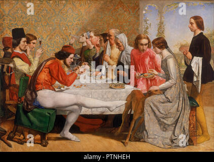 Lorenzo and Isabella. Date/Period: 1848 - 1849. Painting. Oil on canvas. Height: 1,030 mm (40.55 in); Width: 1,428 mm (56.22 in). Author: JOHN EVERETT MILLAIS. - Stock Photo
