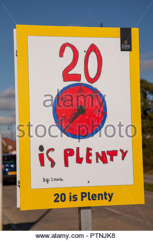A 20 mph speed limit sign, created from a child's design, in Tadpole Village, Swindon, Wiltshire, UK. - Stock Photo