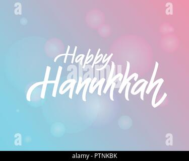 Happy Hanukkah lettering logotype, badge and icon typography.Golden glitter Lettering of jewish holiday logo template. Lettering card template. Calligraphy banner, flyer on textured background - Stock Photo