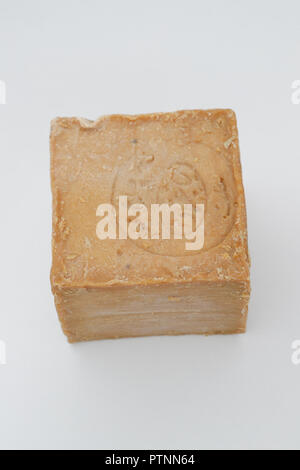 A cube of Marseille soap isolated on white background. Bodycare concepts. France - Stock Photo