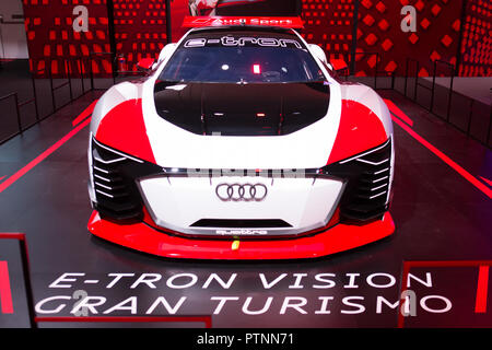 Audi Brand new experience 2018 happening in Singapore on 10 Oct 2018, Display of E-Tron Vision Gran Turismo car. - Stock Photo